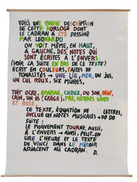 """Jean Dupuy, """"Leo's clock (Français)"""", 1985 - acrylique sur toile libre (anagramme) - Collection Géotec, achat 2009"""