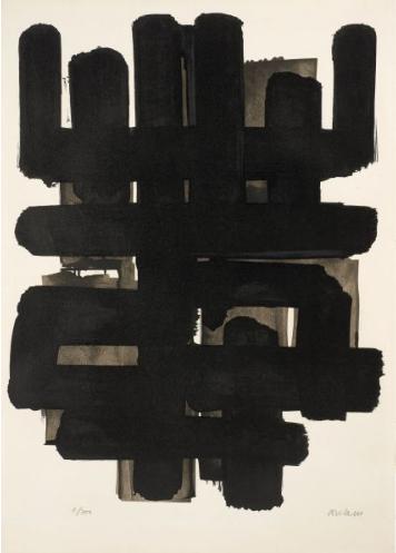 """Pierre Soulages, """"Lithographie 3"""", 1957 - lithographie - éd. 9/200 - Collection Géotec, achat 2016"""