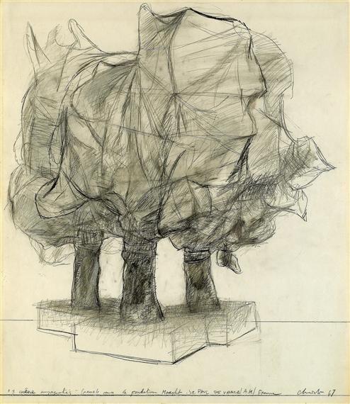 """Christo, """"Trois chênes empaquetés : projet pour la Fondation Maeght à St Paul de Vence"""", 1967 - dessin au crayon, fusain et lavis sur papier - Collection Géotec, achat 2011"""